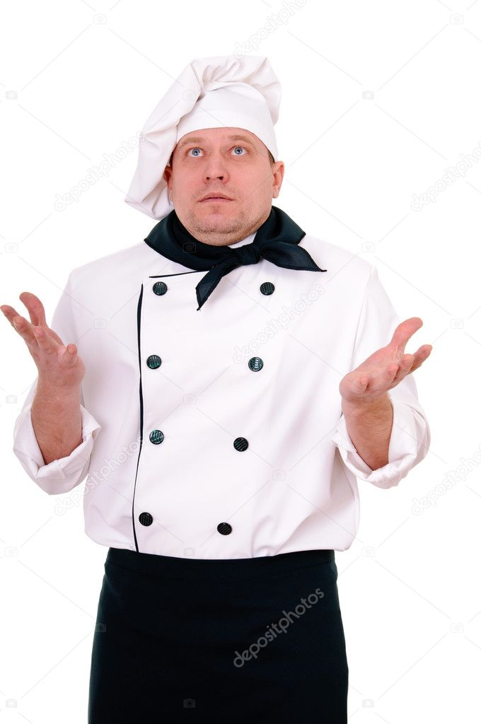 Surprised chef isolated on the white background — Stock Photo #10631727