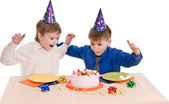 Two boy wich cake — Stock Photo