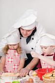 Chef with children — Stock Photo