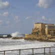 Ancient port Ruins in Caesarea .Mediterranean coast of Israel — Stockfoto