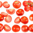 Stock Photo: Slices and full ripe red fresh tomatoes