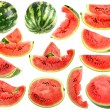 Set of fresh slices and full a ripe watermelons — Stock Photo