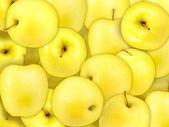 Background of heap fresh yellow apple — Stock Photo