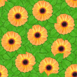 Stock Photo: Seamless pattern of orange flowers and leaf