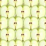 bezešvé vzor s plátky zelené jablko — Stock fotografie