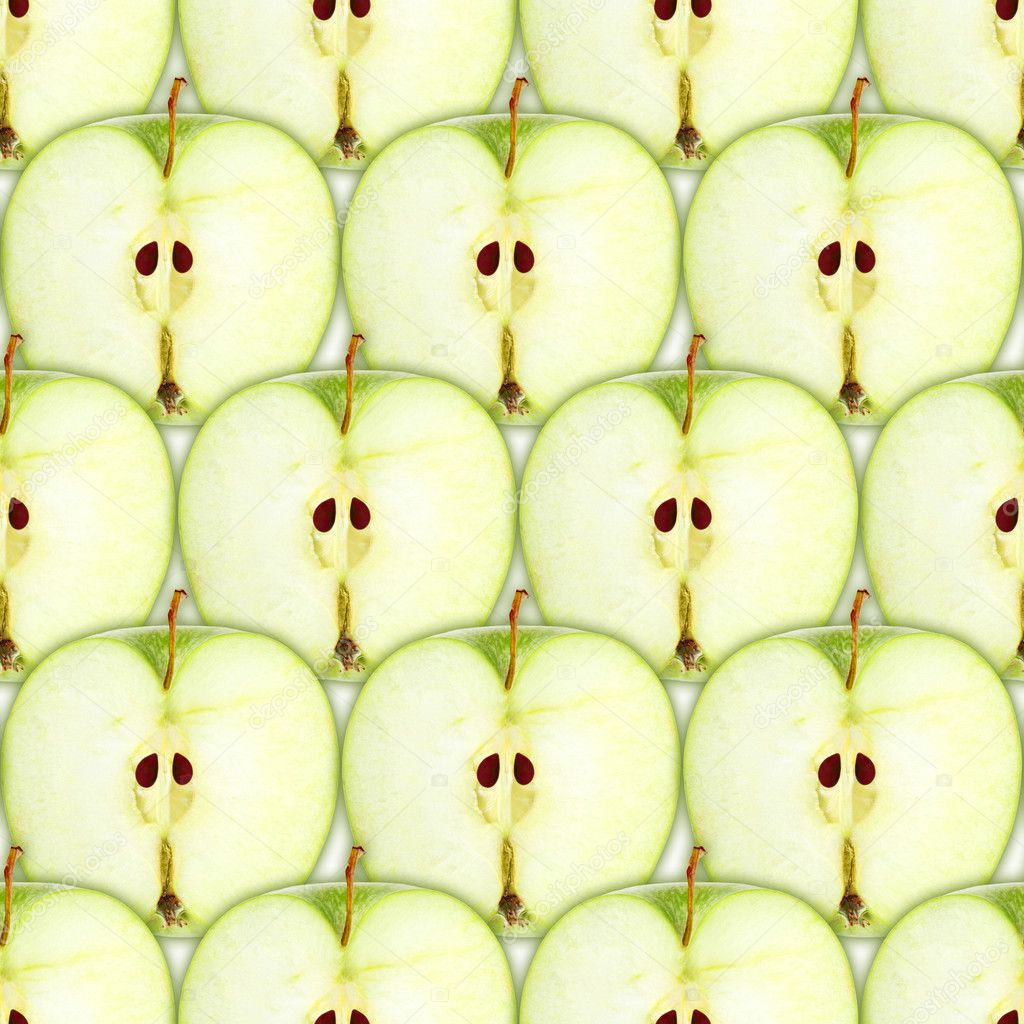 Abstract background with slices of fresh green apple. Seamless pattern for your design. Close-up. Studio photography. — Stock Photo #10721704
