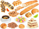 Set of fresh bread and sweets — Stock Photo
