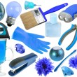 Abstract set of blue objects - Stock Photo