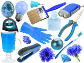 Abstract set of blue objects — Stock Photo