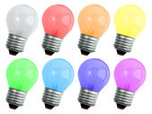 Set of colored compact lighting lamps — Stockfoto