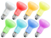 Set of colored compact lighting lamps — Stock Photo