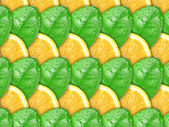 Background with lemon slices and green leaf — Stock Photo