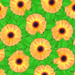 Stock Photo: Background of orange flowers and green leaf