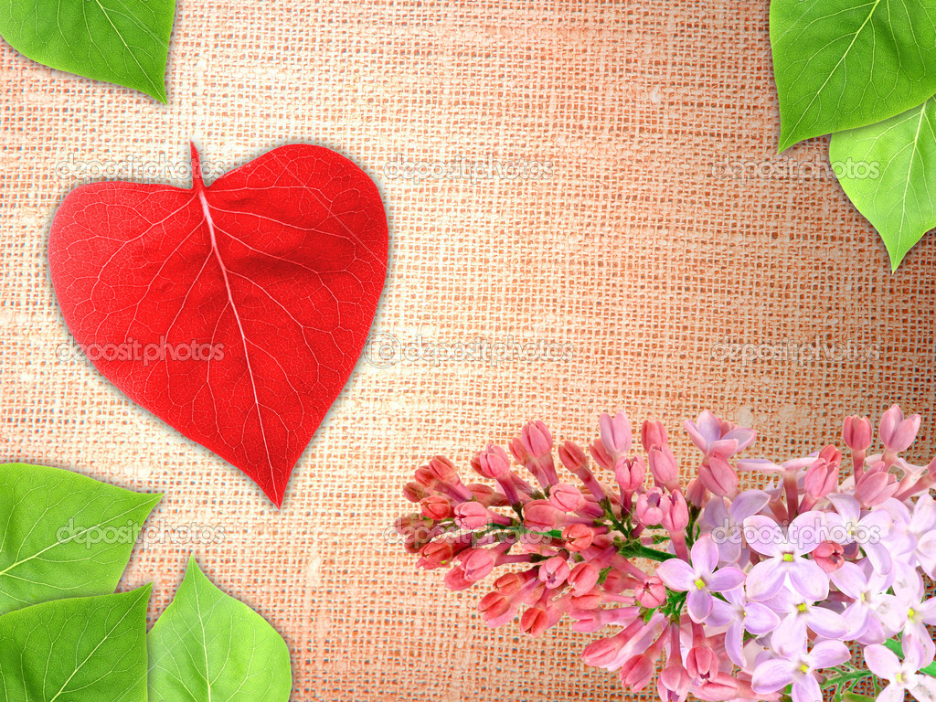 Abstract Valentine textile background with a branch flowers and green leaf of lilac and red heart of leaf-form for your design. Close-up. Studio photography.  Stock Photo #8937268