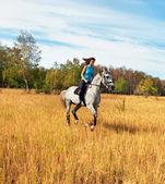 Mädchen auf einem pferd — Stockfoto