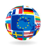 Flags of EU countries on globe — Stock Vector