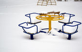 Children's play area in winter — Stock Photo
