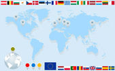 Infographics. World map, flags of EU countries and pointers. — Vecteur