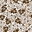 Seamless white-brown floral pattern — ベクター素材ストック
