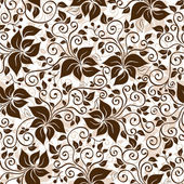 Seamless white-brown floral pattern — Stock Vector