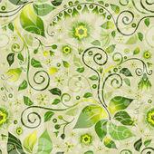 Sömlös gröna blommönster — Stockvektor