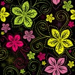 Seamless black floral pattern — Vecteur