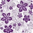 Seamless white-violet floral pattern - Stock Vector