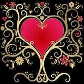 Cornice san valentino d'oro — Vettoriale Stock
