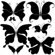 Set black butterflies — Stockvectorbeeld