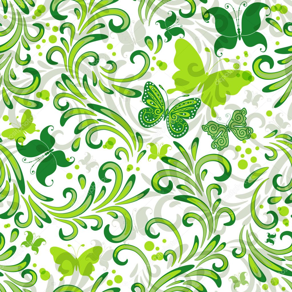 Узоры из зелёного и белого