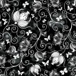 Seamless black-white floral pattern — Stock Vector