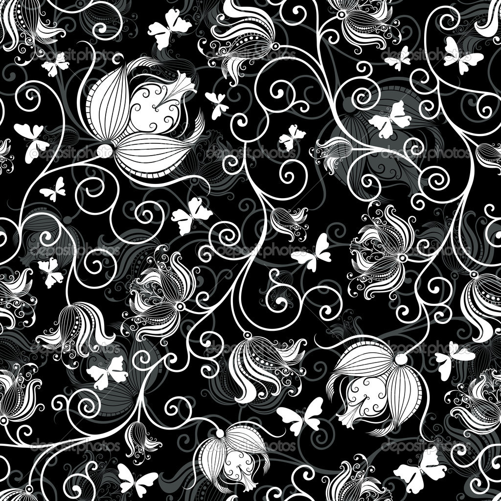 Black Flower Pattern Stock Images: Seamless Black-white Floral Pattern