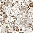 Repeating white-brown floral pattern - Vettoriali Stock