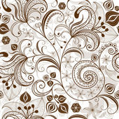 Repeating white-brown floral pattern — Stock Vector