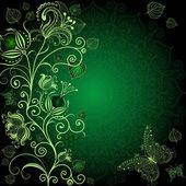 Koyu yeşil çerçeve çiçek — Stok Vektör