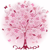 Pink decorative spring tree — Stock Vector