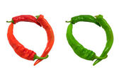 Letter O composed of green and red chili peppers — Stock Photo