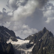 Panorama cloudy mountains — Stock Photo