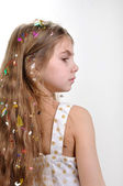 Girl with long thick hair — Stock Photo