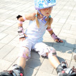 Stock Photo: Child on in-line rollerblade skate