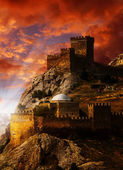Old castle on the Black Sea coast. Ukraine, Crimea — Stock Photo