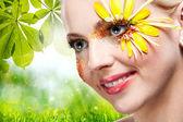 Beauty. Female portrait against natural backgrounds — Stock Photo