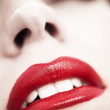 Red lipstick, female portrait — Stock Photo