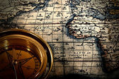 Old paper printed map with compass — Stock Photo