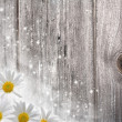 Old wooden desk and daisy flowers, abstract backgrounds - Stock Photo