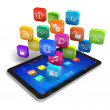 Tablet PC with cloud of application icons — Stock Photo #10062523