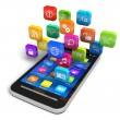 Smartphone with cloud of application icons - Stockfoto