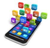 Smartphone with cloud of application icons — Foto de Stock