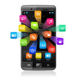 Touchscreen smartphone with application icons — Stockvector