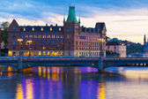 Scenic evening panorama of Stockholm, Sweden — Stock Photo